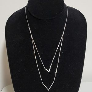 NEW 925 Sterling Silver Double Layered V Necklace